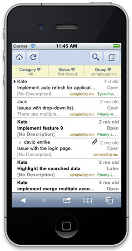 Mobile Issue list Image
